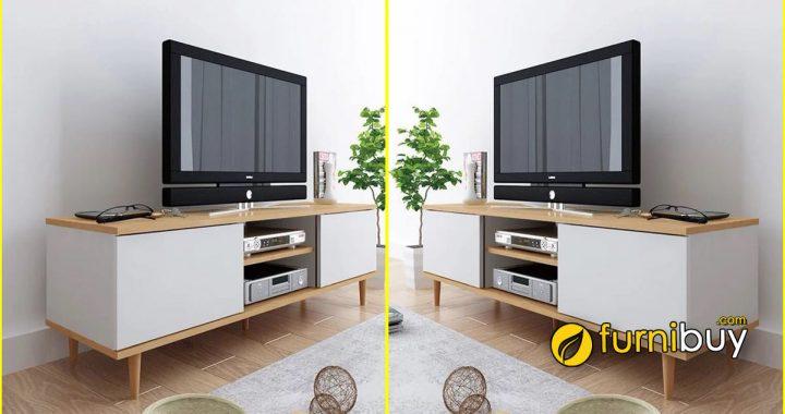 Hình ảnh Mẫu kệ tivi đẹp cho phòng ngủ chân gỗ cao
