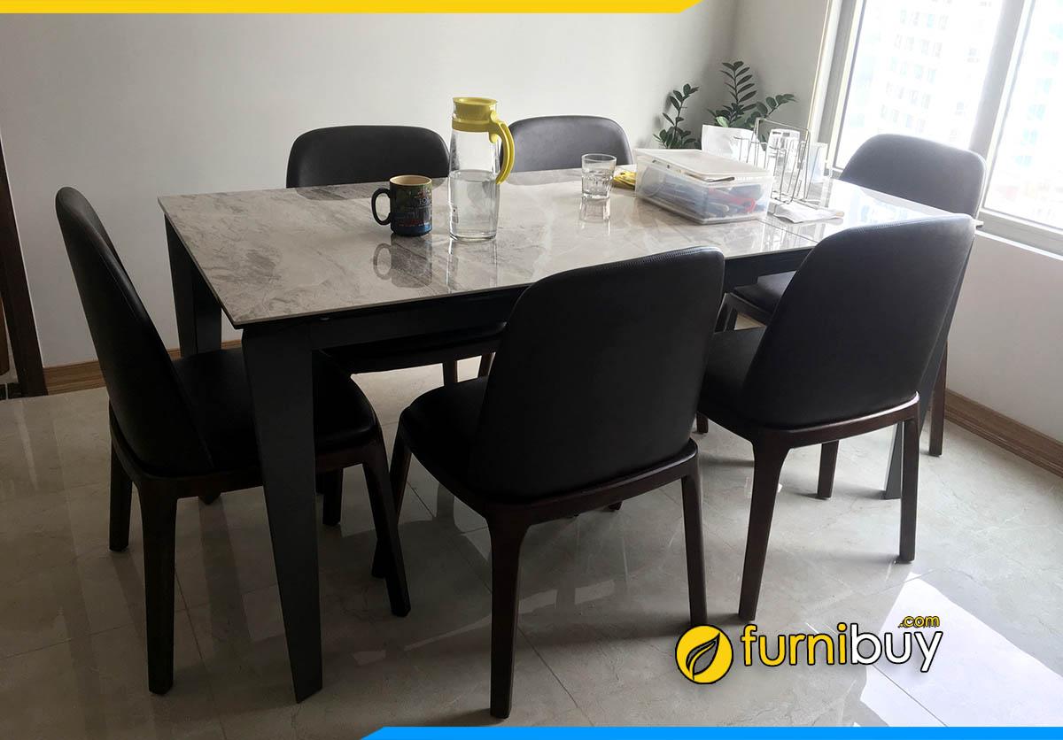 Bộ bàn ăn 6 ghế mặt đá gỗ sồi màu óc chó đẹp BA046