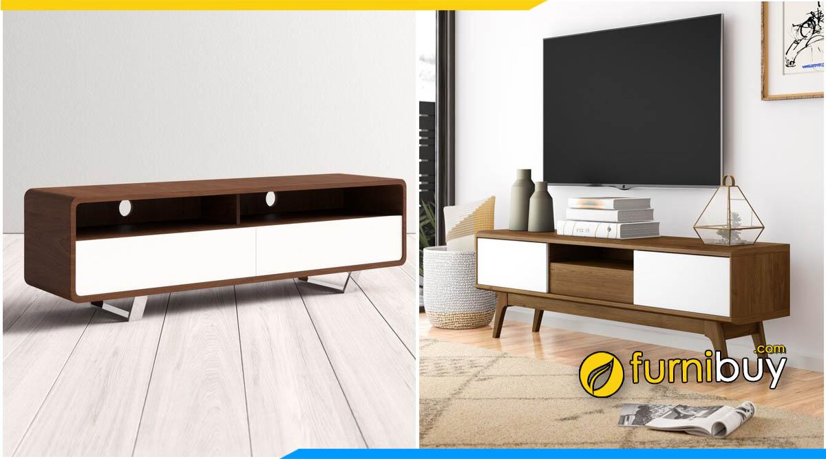 Mẫu kệ tivi gỗ phòng khách chung cư đơn giản