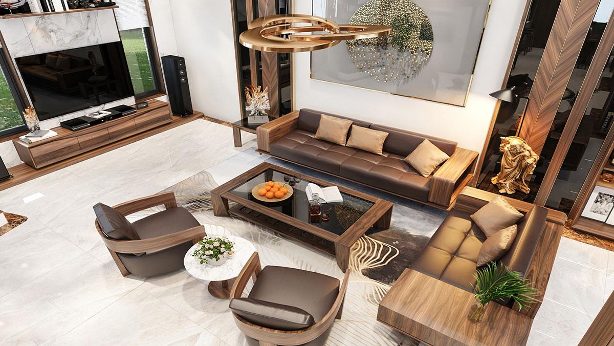 Sofa gỗ cho biệt thự cực sang trọng