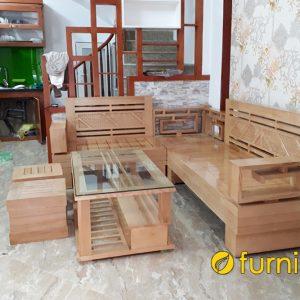 mẫu sofa gỗ sồi góc chữ L